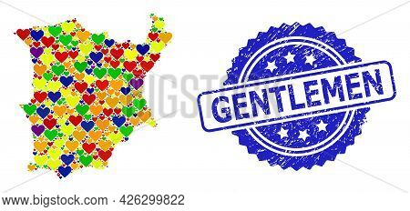 Blue Rosette Textured Watermark With Gentlemen Title. Vector Mosaic Lgbt Map Of Koh Samui From Heart