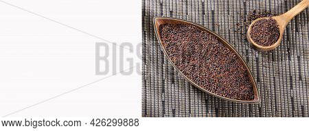 Black Mustard Seeds In Wooden Bowl - Brassica