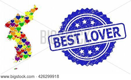 Blue Rosette Textured Watermark With Best Lover Caption. Vector Mosaic Lgbt Map Of Korea With Love H