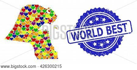 Blue Rosette Textured Stamp With World Best Caption. Vector Mosaic Lgbt Map Of Kuwait With Love Hear