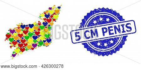 Blue Rosette Grunge Seal With 5 Cm Penis Text. Vector Mosaic Lgbt Map Of La Coruna Province With Lov