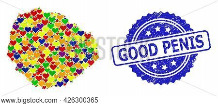 Blue Rosette Textured Seal Stamp With Good Penis Phrase. Vector Mosaic Lgbt Map Of La Gomera Island