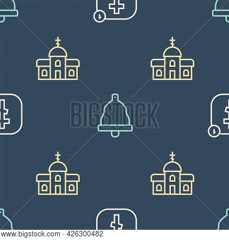 Set Line Online Church Pastor Preaching, Church Building And Bell On Seamless Pattern. Vector
