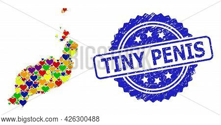 Blue Rosette Grunge Watermark With Tiny Penis Title. Vector Mosaic Lgbt Map Of Lanzarote Islands Wit