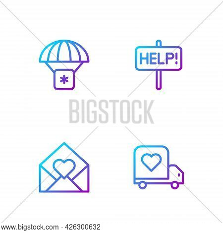 Set Line Delivery Truck With Heart, Envelope Valentine, Humanitarian Aid And Help Sign. Gradient Col
