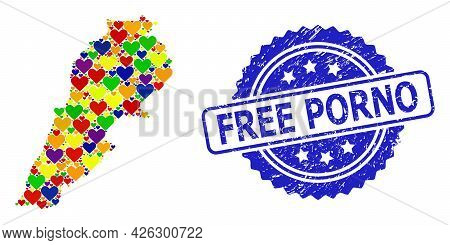 Blue Rosette Grunge Seal Imprint With Free Porno Phrase. Vector Mosaic Lgbt Map Of Lebanon With Love