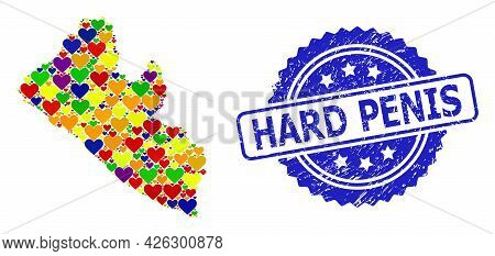 Blue Rosette Distress Seal With Hard Penis Message. Vector Mosaic Lgbt Map Of Liberia With Love Hear