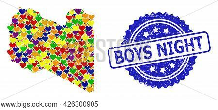 Blue Rosette Grunge Stamp With Boys Night Caption. Vector Mosaic Lgbt Map Of Libya From Love Hearts.