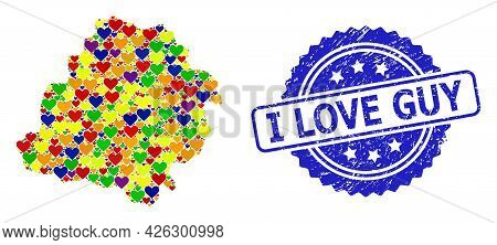 Blue Rosette Textured Seal Imprint With I Love Guy Phrase. Vector Mosaic Lgbt Map Of Lodz Province W