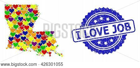 Blue Rosette Grunge Seal Stamp With I Love Job Message. Vector Mosaic Lgbt Map Of Louisiana State Wi