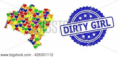Blue Rosette Grunge Seal Stamp With Dirty Girl Phrase. Vector Mosaic Lgbt Map Of Lower Silesia Provi