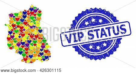 Blue Rosette Grunge Watermark With Vip Status Caption. Vector Mosaic Lgbt Map Of Lublin Province Fro