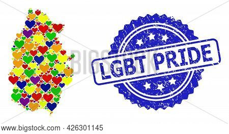 Blue Rosette Rubber Seal With Lgbt Pride Text. Vector Mosaic Lgbt Map Of Lugo Province With Love Hea