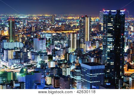 Ultramodern cityscape of Osaka, Japan the country's second largest city.