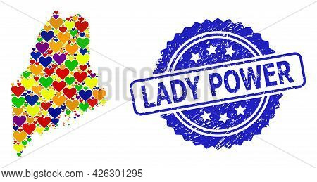 Blue Rosette Distress Watermark With Lady Power Caption. Vector Mosaic Lgbt Map Of Maine State With