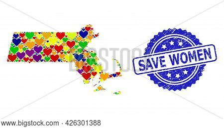 Blue Rosette Scratched Seal With Save Women Text. Vector Mosaic Lgbt Map Of Massachusetts State With
