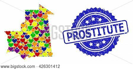 Blue Rosette Scratched Stamp With Prostitute Caption. Vector Mosaic Lgbt Map Of Mauritania From Vale
