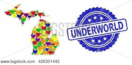 Blue Rosette Rubber Seal With Underworld Text. Vector Mosaic Lgbt Map Of Michigan State With Lovely