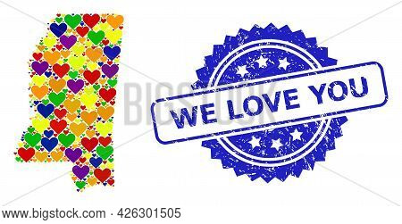 Blue Rosette Scratched Seal With We Love You Text. Vector Mosaic Lgbt Map Of Mississippi State With