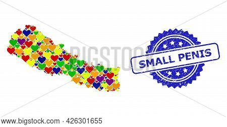 Blue Rosette Scratched Watermark With Small Penis Message. Vector Mosaic Lgbt Map Of Nepal With Love