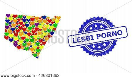 Blue Rosette Grunge Watermark With Lesbi Porno Phrase. Vector Mosaic Lgbt Map Of New South Wales Wit