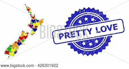 Blue Rosette Scratched Watermark With Pretty Love Title. Vector Mosaic Lgbt Map Of New Zealand Of Lo
