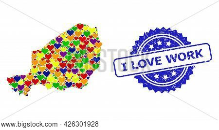 Blue Rosette Rubber Watermark With I Love Work Caption. Vector Mosaic Lgbt Map Of Niger With Love He