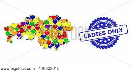 Blue Rosette Scratched Watermark With Ladies Only Phrase. Vector Mosaic Lgbt Map Of North Brabant Pr
