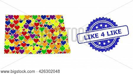 Blue Rosette Scratched Seal Imprint With Like 4 Like Phrase. Vector Mosaic Lgbt Map Of North Dakota