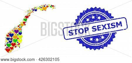 Blue Rosette Scratched Seal Stamp With Stop Sexism Title. Vector Mosaic Lgbt Map Of Norway Of Lovely