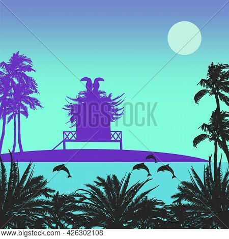 Tropical Island With Bungalow And Toucans On A Roof And Jumping Dolphins In The Sea Flat Illustratio