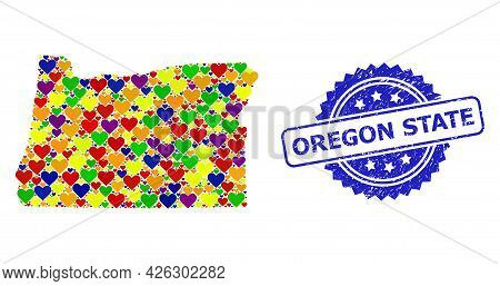Blue Rosette Grunge Seal Imprint With Oregon State Phrase. Vector Mosaic Lgbt Map Of Oregon State Wi