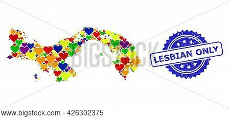 Blue Rosette Grunge Seal With Lesbian Only Phrase. Vector Mosaic Lgbt Map Of Panama With Love Hearts