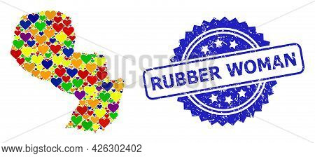 Blue Rosette Distress Stamp With Rubber Woman Message. Vector Mosaic Lgbt Map Of Paraguay Of Valenti