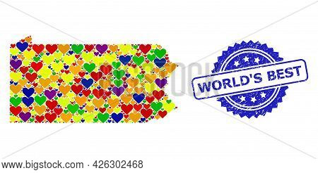 Blue Rosette Rubber Seal With World S Best Phrase. Vector Mosaic Lgbt Map Of Pennsylvania State With