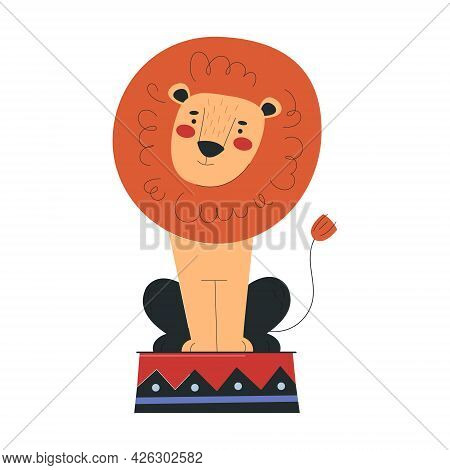 Beautiful Lion Is Working In Circus. Concept Of Circus Characters Doing Tricks And Stunts For Childr