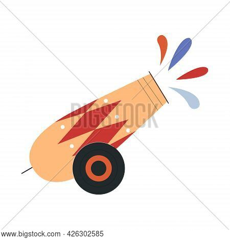 Cute Circus Cannon Firing Colorful Paint. Concept Of Circus Characters And Equipment Doing Tricks An
