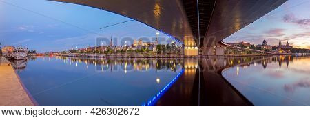 Szczecin. Panorama Of The City Embankment In The Early Morning.