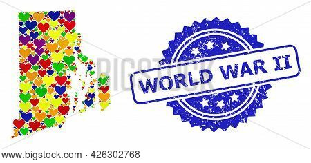 Blue Rosette Textured Seal With World War Ii Phrase. Vector Mosaic Lgbt Map Of Rhode Island State Wi