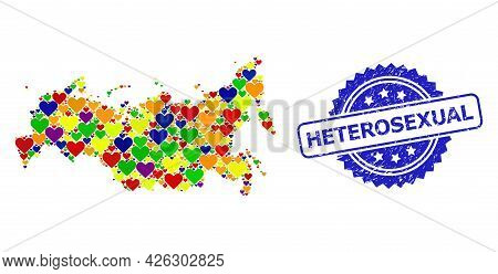 Blue Rosette Textured Seal With Heterosexual Phrase. Vector Mosaic Lgbt Map Of Russia From Lovely He