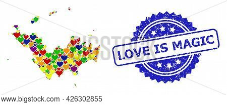 Blue Rosette Distress Seal Stamp With Love Is Magic Caption. Vector Mosaic Lgbt Map Of Saint Barthel