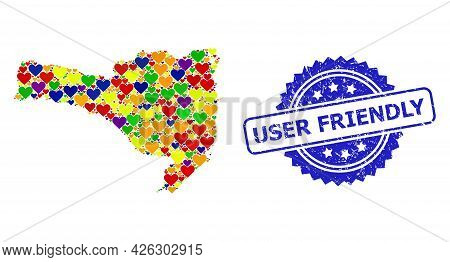 Blue Rosette Rubber Seal Imprint With User Friendly Text. Vector Mosaic Lgbt Map Of Santa Catarina S