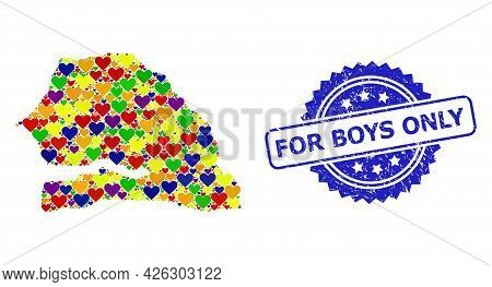 Blue Rosette Distress Stamp With For Boys Only Text. Vector Mosaic Lgbt Map Of Senegal With Love Hea