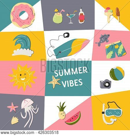 Design Summer Vibes Party Poster Colorful Template With Vacation Symbols. Usable For A Post On Socia
