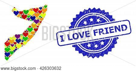 Blue Rosette Rubber Seal Imprint With I Love Friend Text. Vector Mosaic Lgbt Map Of Somalia From Lov