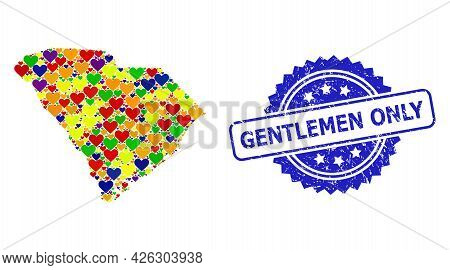 Blue Rosette Grunge Seal Imprint With Gentlemen Only Title. Vector Mosaic Lgbt Map Of South Carolina