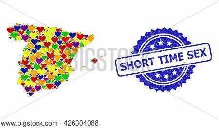 Blue Rosette Scratched Seal With Short Time Sex Phrase. Vector Mosaic Lgbt Map Of Spain From Love He