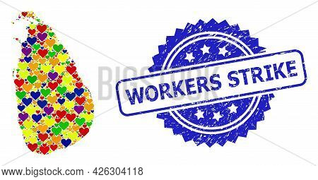 Blue Rosette Rubber Watermark With Workers Strike Message. Vector Mosaic Lgbt Map Of Sri Lanka Of Lo