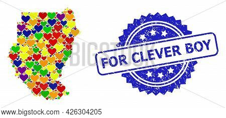 Blue Rosette Distress Seal With For Clever Boy Message. Vector Mosaic Lgbt Map Of Sudan With Love He