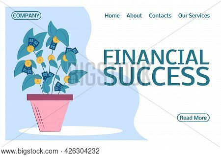 Landing Page On The Topic Of Financial Success. Money Tree For A Website. Financial Growth Of Money,
